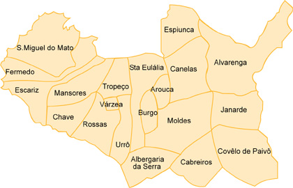 mapa freguesias de aveiro Arouca   Freguesias mapa freguesias de aveiro
